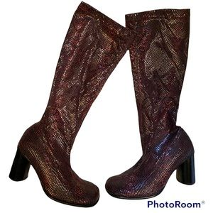 Y2K VINTAGE SEXY KNEE HIGH BOOTS PULLOVER FAUX SNAKE SKIN HIGH HEEL BOOTS